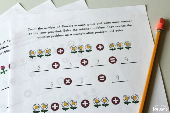 Spring Themed Repeated Addition Worksheets