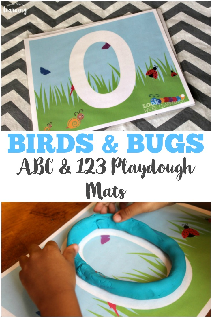 These alphabet and number birds and bugs playdough mats are fun fine motor, alphabet, and counting practice for preschoolers!