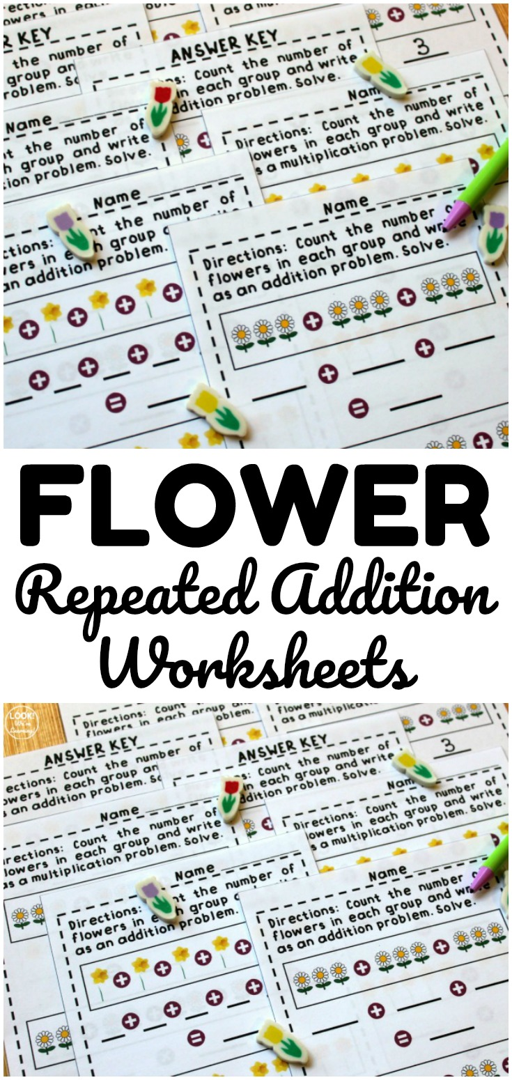 These flower themed repeated addition worksheets are a wonderful math activity for spring math lessons! Use them at centers too!