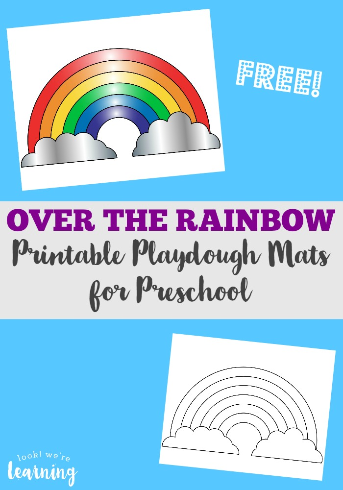 picture about Free Printable Playdough Mats titled Preschool Playdough Mats: Colourful Rainbow Playdough Mats