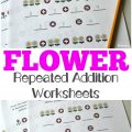 Use these spring-themed flower repeated addition worksheets to help kids practice learning how to multiply!