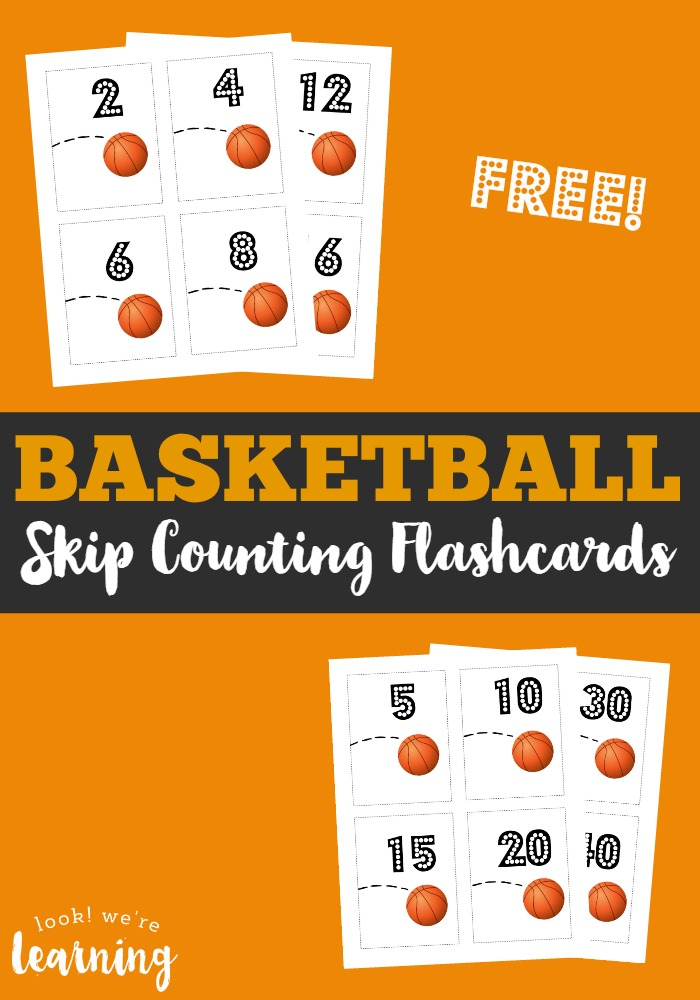 Your sports lover will have a ball practicing skip counting with these basketball free skip counting flashcards!