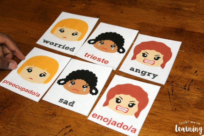 Feelings Flashcards in English and Spanish