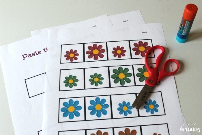 Flower Size Sorting Cut and Paste Activity