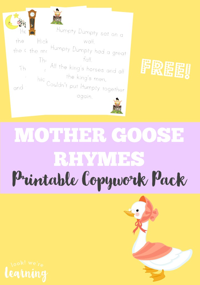 Help your children learn to memorize and write classic rhymes with this printable Mother Goose Rhyme Copywork pack!