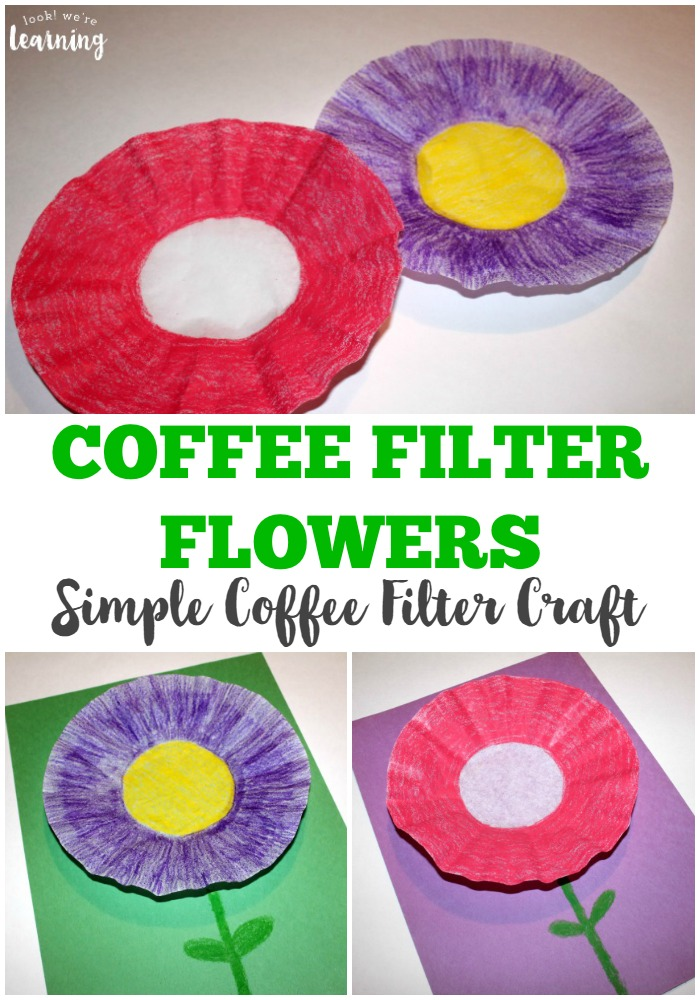 easy coffee filter flower craft  look we're learning, Beautiful flower