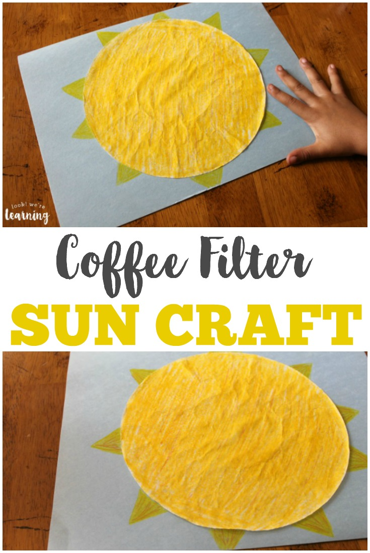 Make an easy spring or summer project with this coffee filter sun craft that's simple enough for toddlers!