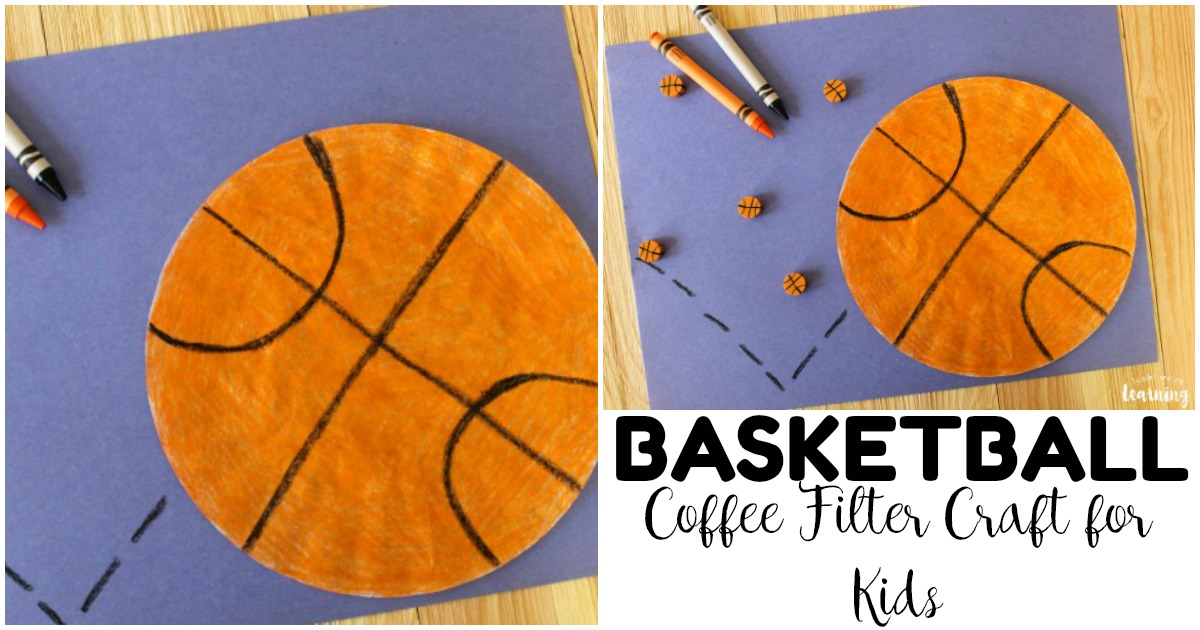 Make this easy coffee filter basketball craft for some quick hoops fun!