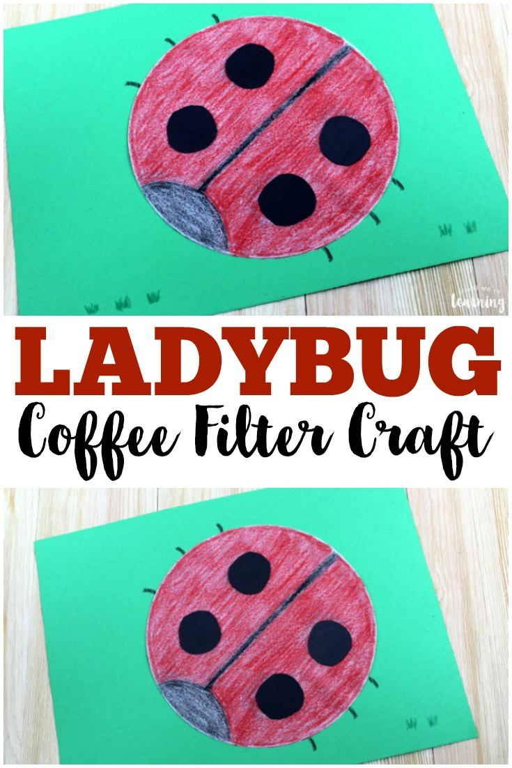 Make this simple and cute coffee filter ladybug craft with the kids this spring!