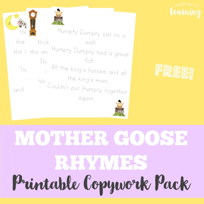 Mother Goose Rhyme Printable Copywork Pack - Look! We're Learning!