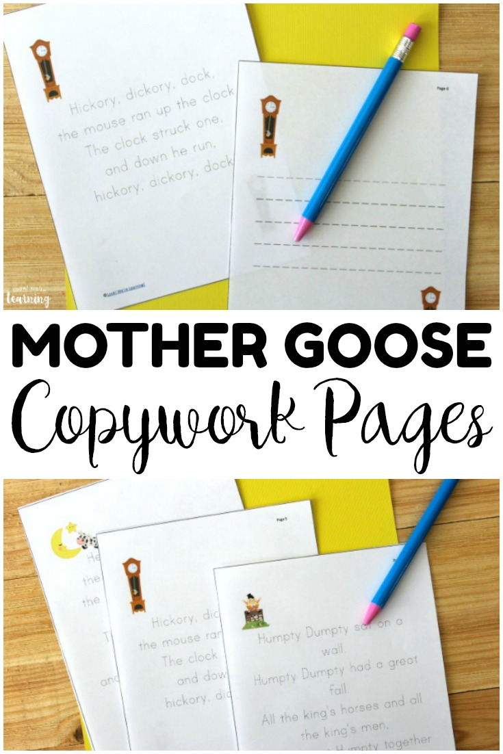 Pick up these printable Mother Goose copywork pages for simple reading and writing practice!