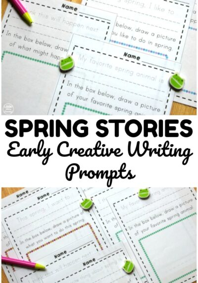 Pick up these spring themed early creative writing prompts to help students practice composing stories about spring!