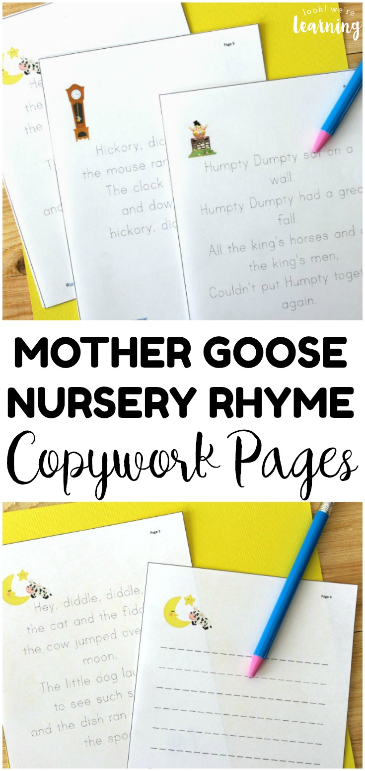 Practice rhyming and writing with these fun Mother Goose nursery rhyme copywork pages for kids!