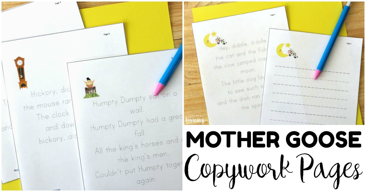 Printable Nursery Rhyme Copywork Pages for Kids