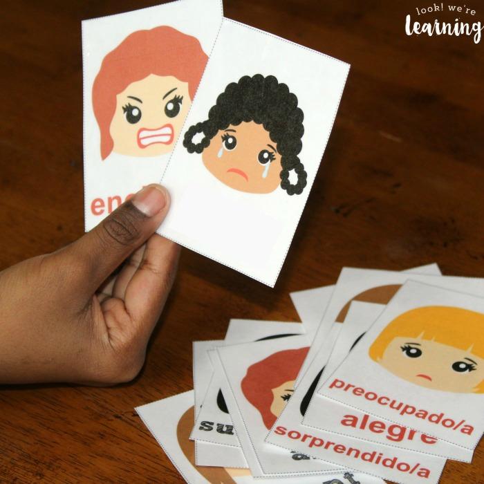 Printable Spanish to English Feelings Flashcards