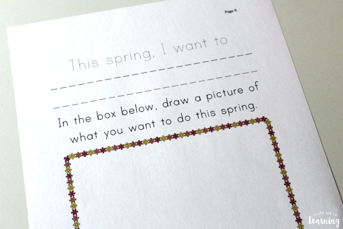 Printable Spring Creative Writing Prompts for Preschool