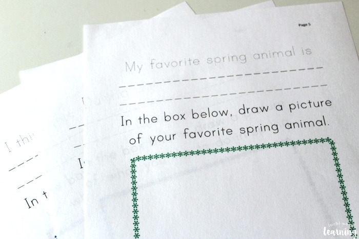 Printable Spring Writing Prompts for Preschoolers