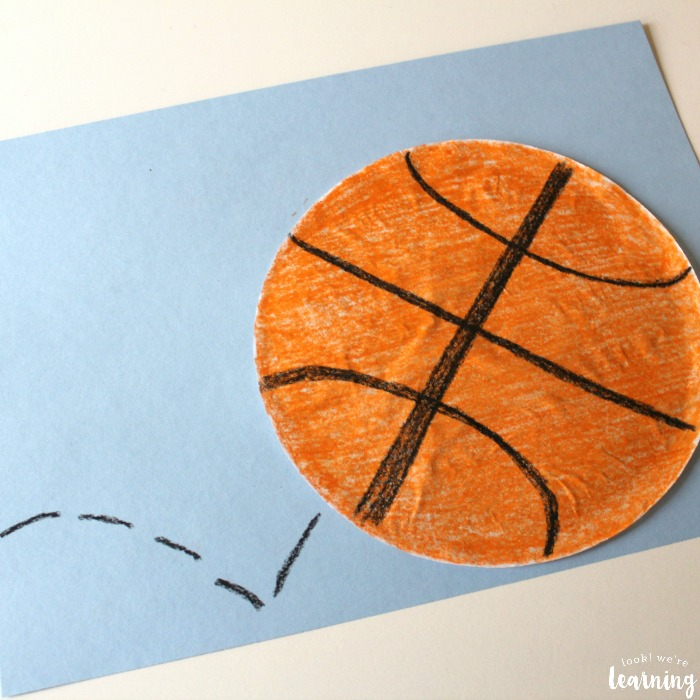 Simple Coffee Filter Basketball Craft for Kids
