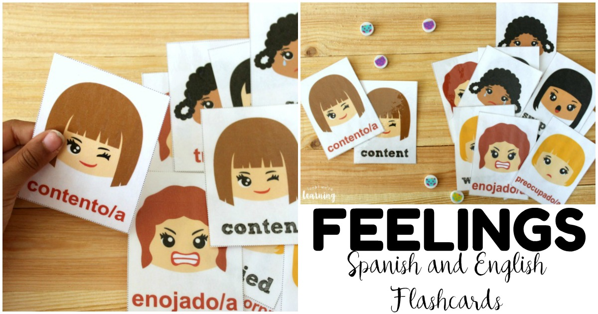 Simple Spanish Feelings Flashcards for Kids