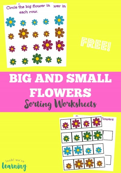 These free big and small sorting worksheets are a perfect spring activity for preschoolers who are learning about size!