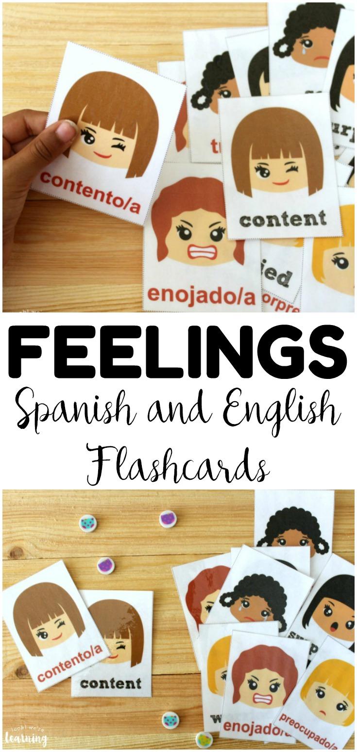 Printable Spanish Feelings Flashcards Look We Re Learning