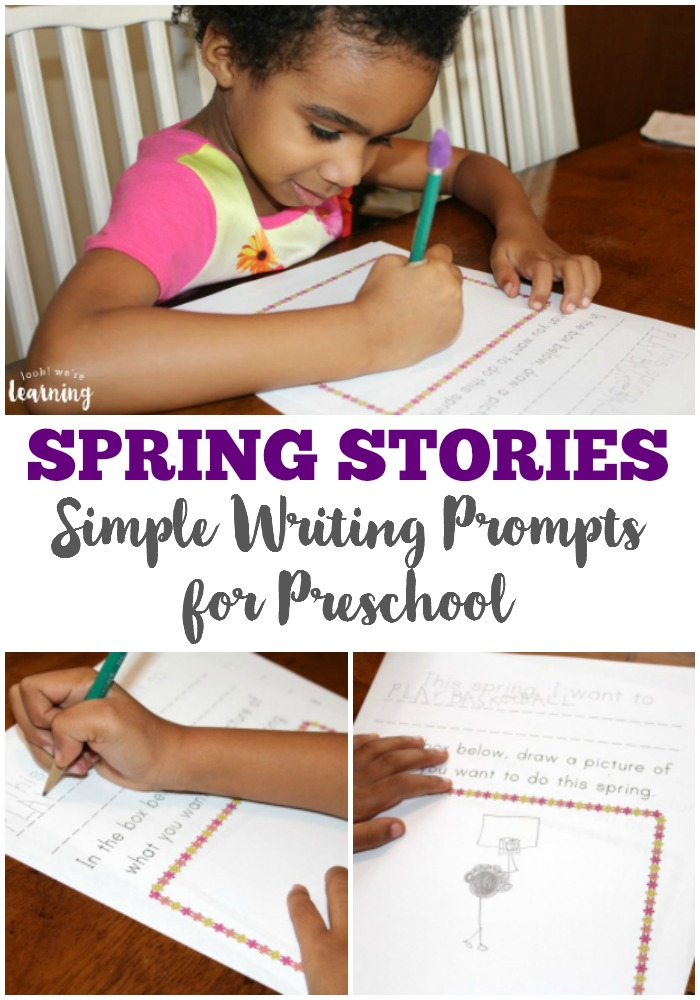 These spring preschool story prompts are an easy way to help preschoolers start writing creatively!