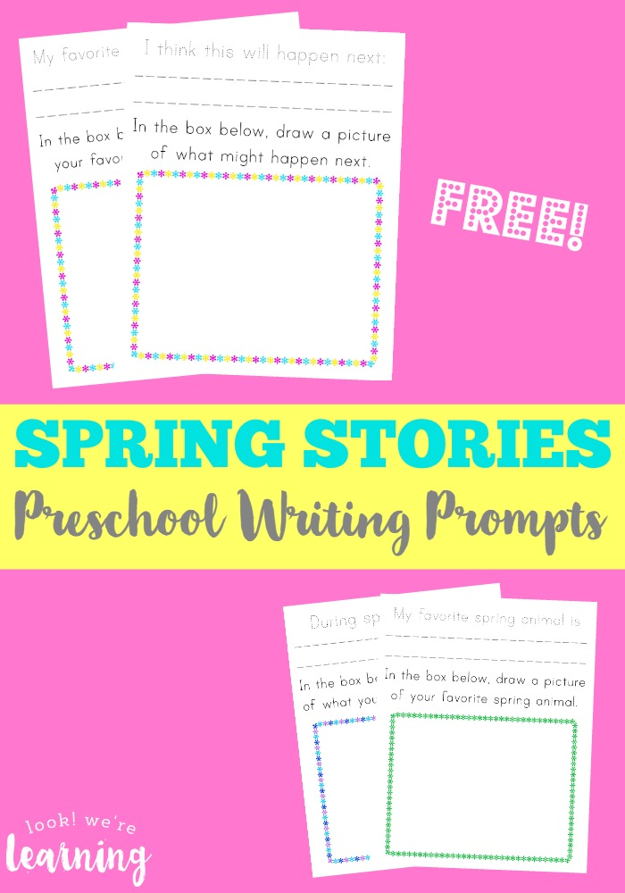 These spring preschool story prompts are such a fun way to get young children writing!