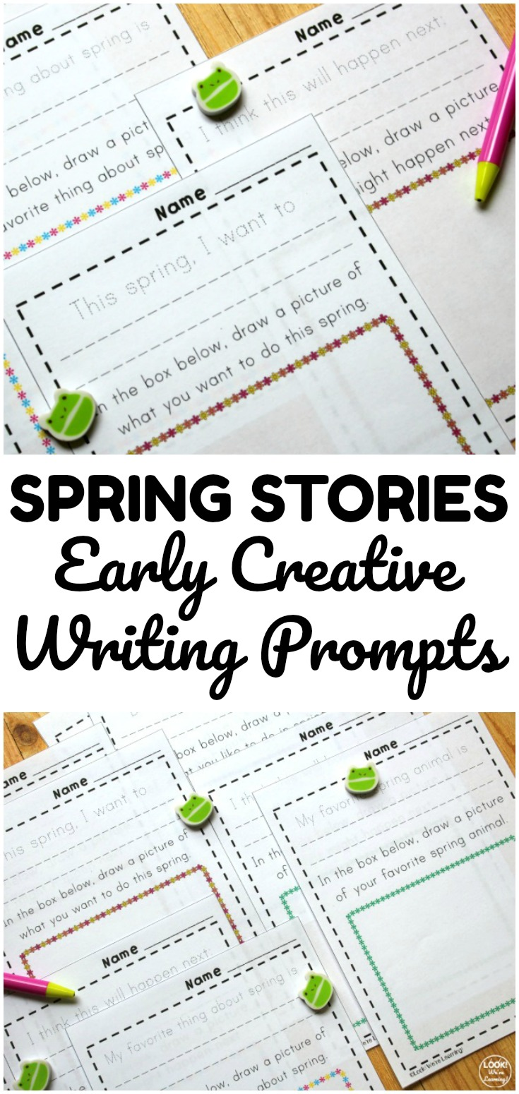 These spring themed early creative writing prompts are perfect for spring writing lessons!
