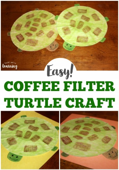 This easy coffee filter turtle craft is a perfect indoor activity for kids! You can make it in just a few minutes with supplies you already have! Definitely a simple craft for kids to try!