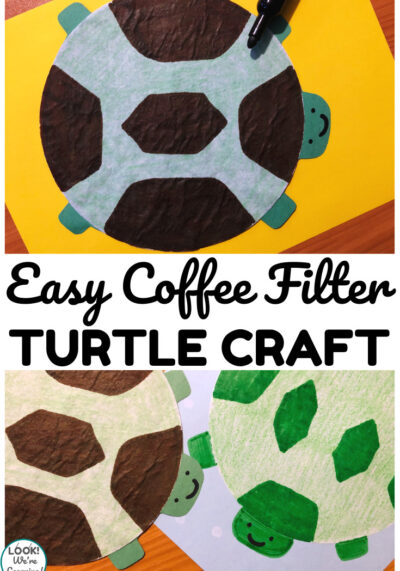 This simple coffee filter turtle craft is a fun spring or summer craft for kids to make!