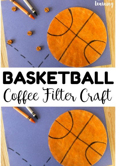 This super easy coffee filter basketball craft is a perfect art project for your little sports fan! Goes great with March Madness too!