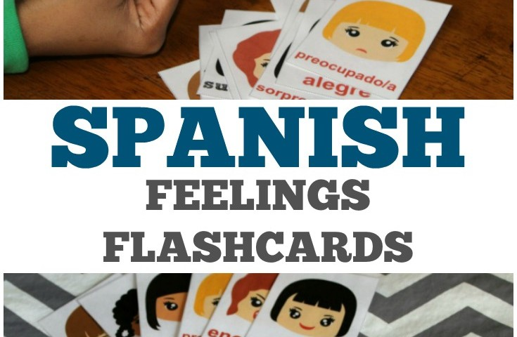 Printable Spanish Flashcards: English to Spanish Feelings Flashcards