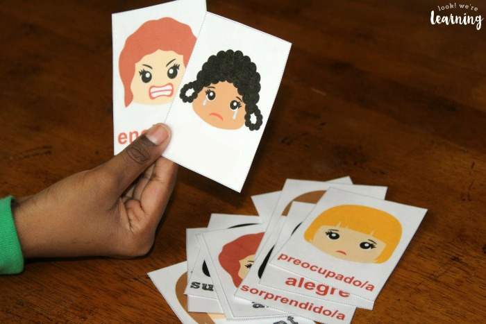 Using Spanish Feelings Flashcards with Kids
