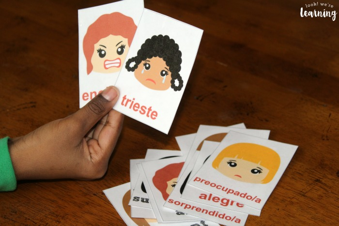 Using Spanish Feelings Flashcards with Kids
