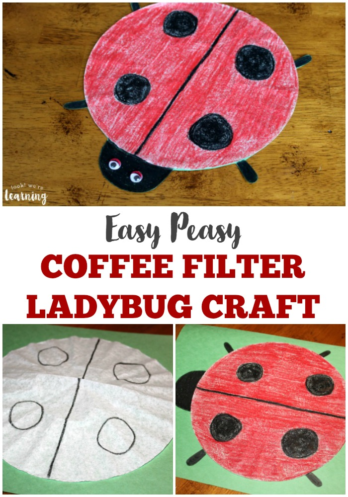 Want to find some easy coffee filter crafts for kids This simple coffee filter ladybug craft is super easy for little ones!