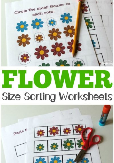 Work on learning big and small sizes with these flower size sorting printables!