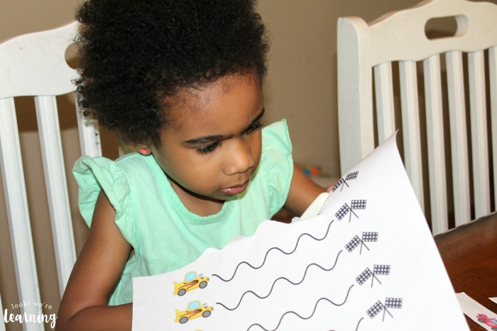 Free Racecar Scissor Skills Printables for Kids