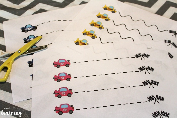 Free Racecar Scissor Skills Printables for Preschoolers