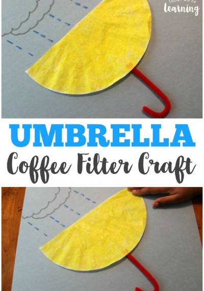 Make this cute and easy umbrella coffee filter craft with the kids on a rainy day!