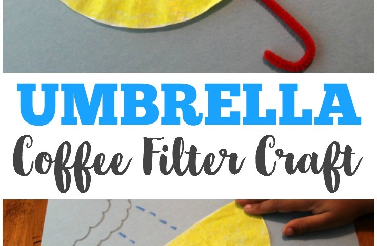 Coffee Filter Crafts for Kids: Inside Out Coffee Filter Umbrella Craft