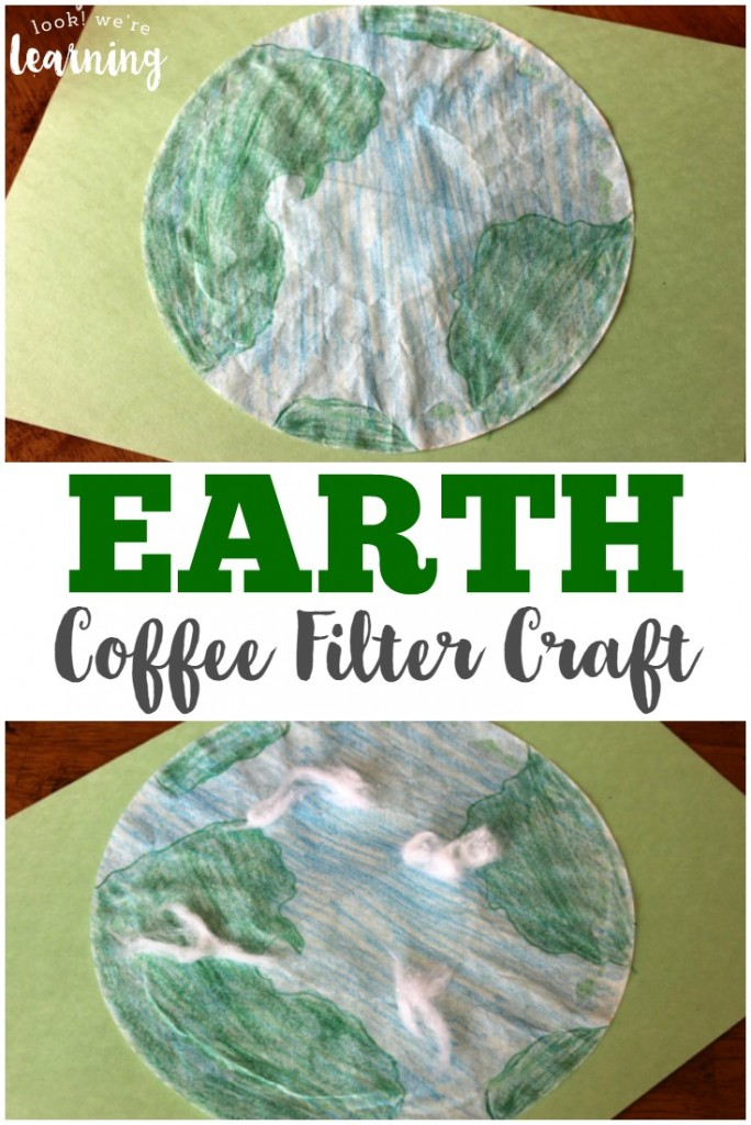 Make this cute and simple coffee filter earth craft with kids of any age! This is a great activity for learning about conservation, geography, or the planets!