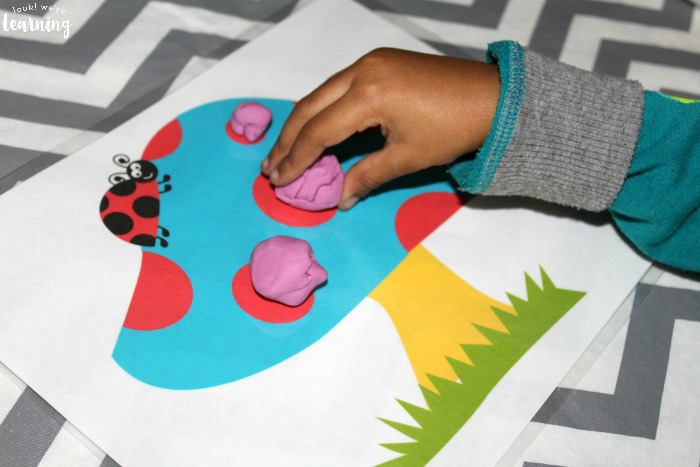 Preschool Playdough Mats with Ladybugs