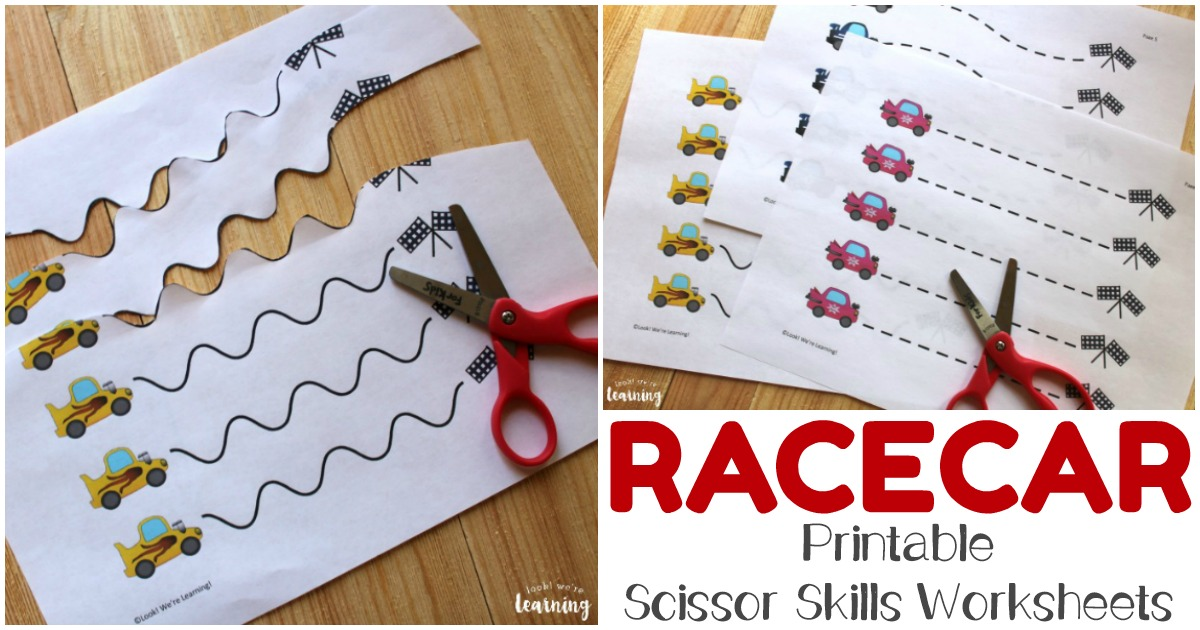 Printable Race Car Scissor Skills Worksheets for Fine Motor Practice