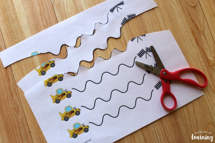 Printable Race Car Scissor Skills Worksheets