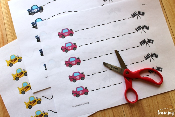 Printable Racecar Themed Scissor Skills Worksheets