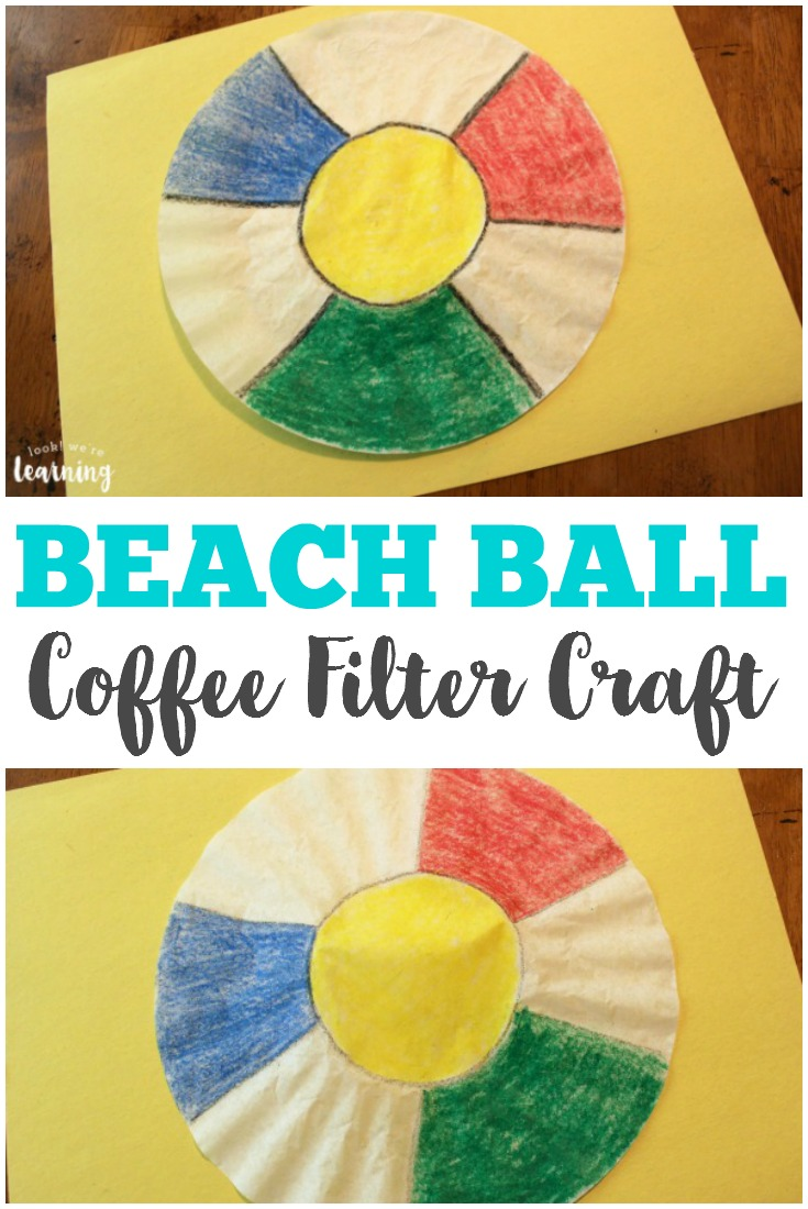 Put this simple beach ball coffee filter craft together in just a few minutes! This is a perfect summer craft for little ones!