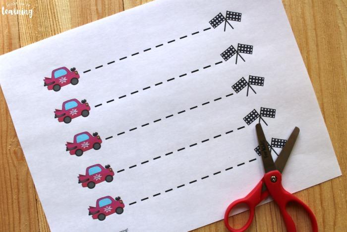 Racecar Scissor Skills Practice Sheets