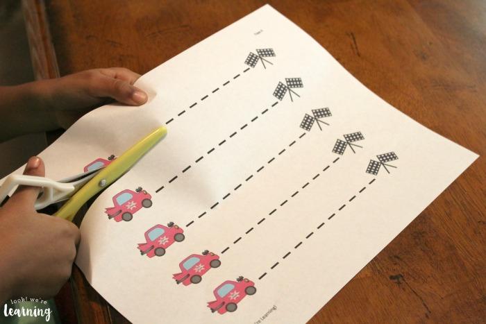 Racecar Scissor Skills Printables for Kids