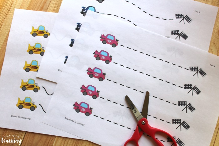 Racecar Themed Scissor Skills Printables for Kids