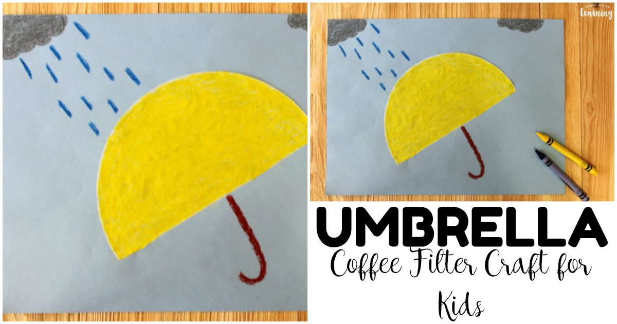 Share this easy rainy day coffee filter umbrella craft with your kids this spring!